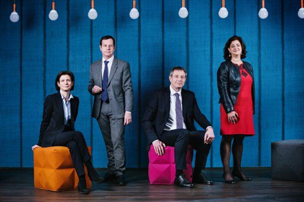 De gauche à droite : Delphine Roché, Directrice de la Transformation et de l'IT ; Pascal Layan, Directeur Général Délégué ; Wolfgang Pinner, Directeur Général Adjoint et Charlotte Denney, Administratrice Directrice Générale