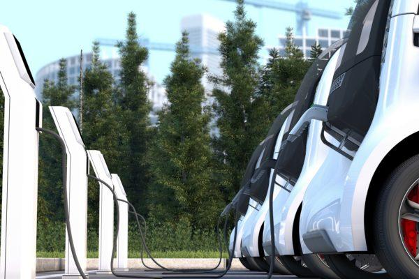 3D illustration of electric car